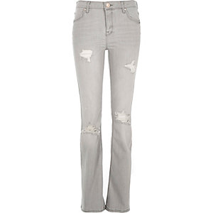 Grey ripped Brooke flare jeans