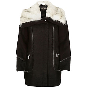 Black zip-up winter coat