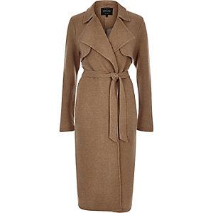 Camel brown midi trench coat