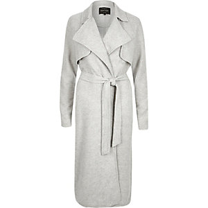 Grey jersey long belted trench coat