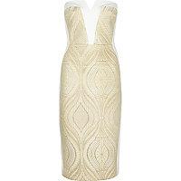 Gold lace bandeau bodycon dress
