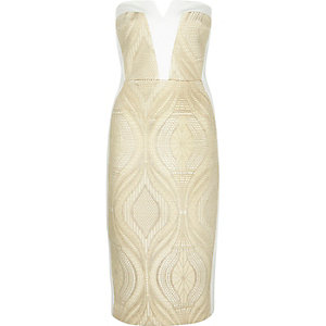 Gold lace bandeau bodycon dress