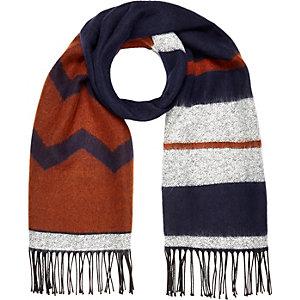 Navy woven pattern tassel scarf