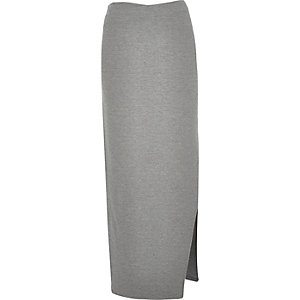 Grey side split maxi skirt