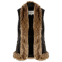 Black leather-look fur trim gilet