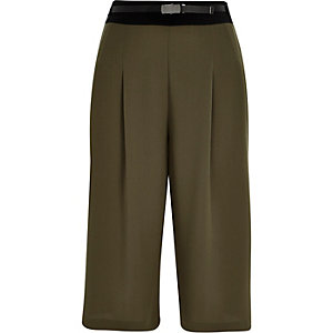 Khaki smart short culottes