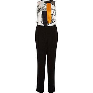 Black print split sleeveless jumpsuit