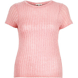 Light pink fluffy textured top