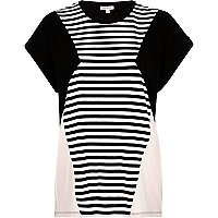 Black stripe colour block t-shirt