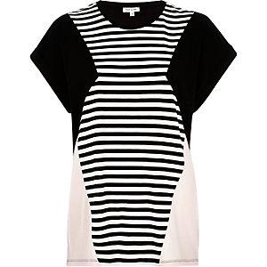 Black stripe colour block t-shirt