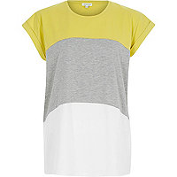 Lime colourblock short sleeve t-shirt
