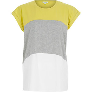 Lime colourblock short sleeve t-shirt