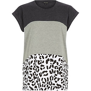 Black leopard print color block t-shirt