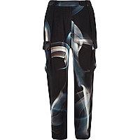 Black Design Forum smoke print trousers