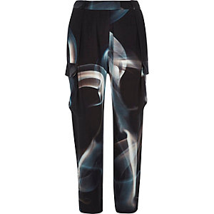 Black Design Forum smoke print trousers