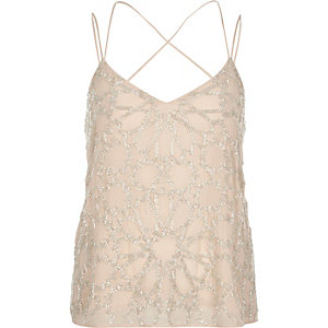 Light pink embellished strappy cami