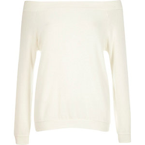 Cream long sleeve bardot top