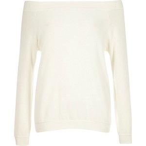 Cream long sleeve bardot top
