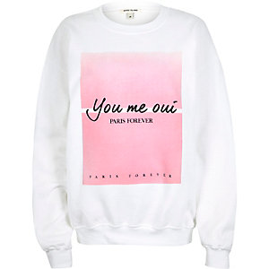 White faded Paris slogan sweatshirt