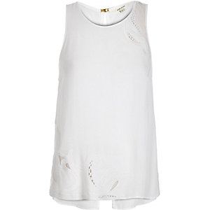 White lace insert tank top
