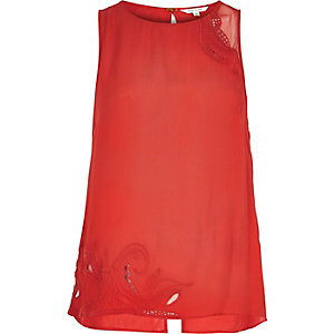 Red lace insert tank top