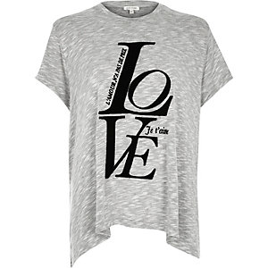 Grey love print swing hem t-shirt