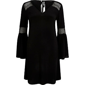 Black mesh panel swing dress