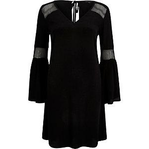 Black mesh panel swing dress