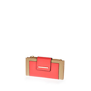 Coral fold over tab purse