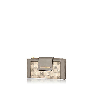 Beige RI monogram purse