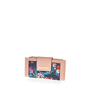 Pink floral print purse