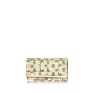 Cream monogram purse
