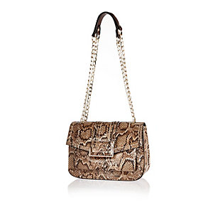 Cream snake print shoulder handbag