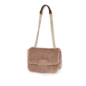 Beige faux fur chain handbag