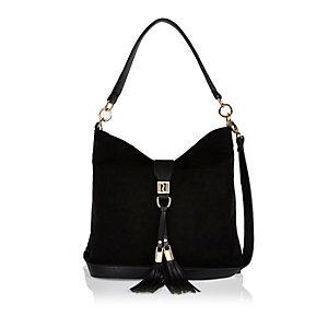 Black tassel front slouchy handbag