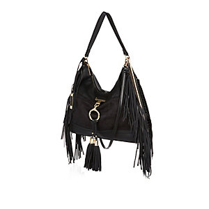 Black faux-suede tassel side handbag