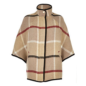 Beige wool-blend check cape coat