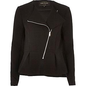 Black peplum biker jacket