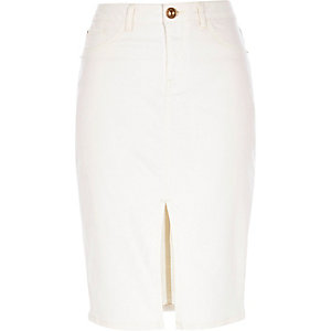Cream denim split front pencil skirt