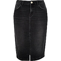 Washed black denim pencil skirt