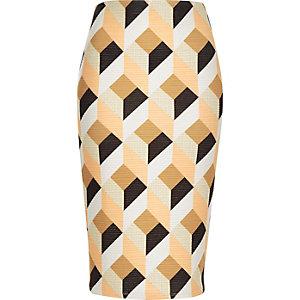Orange diamond print pencil skirt