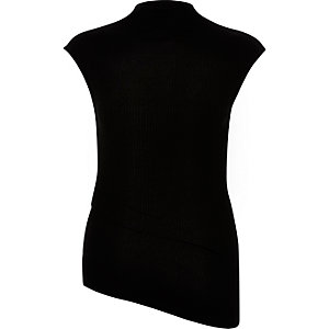 Black ribbed asymmetric top