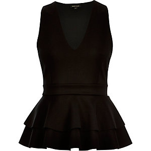 Black double peplum top