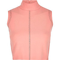 Pink saddle stitch high neck top