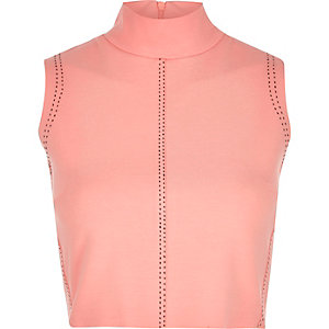 Pink saddle stitch high neck crop top