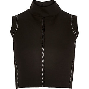 Black saddle stitch high neck crop top