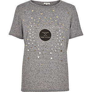Grey metallic star print t-shirt