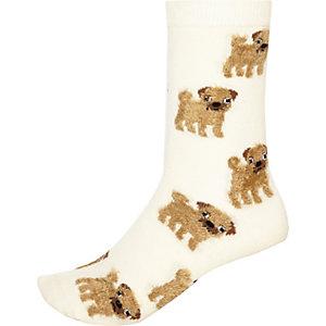 Beige pug ankle socks