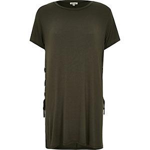 Khaki tie side longline t-shirt