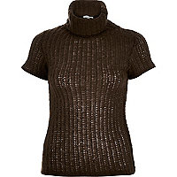Dark brown chunky short sleeve roll neck